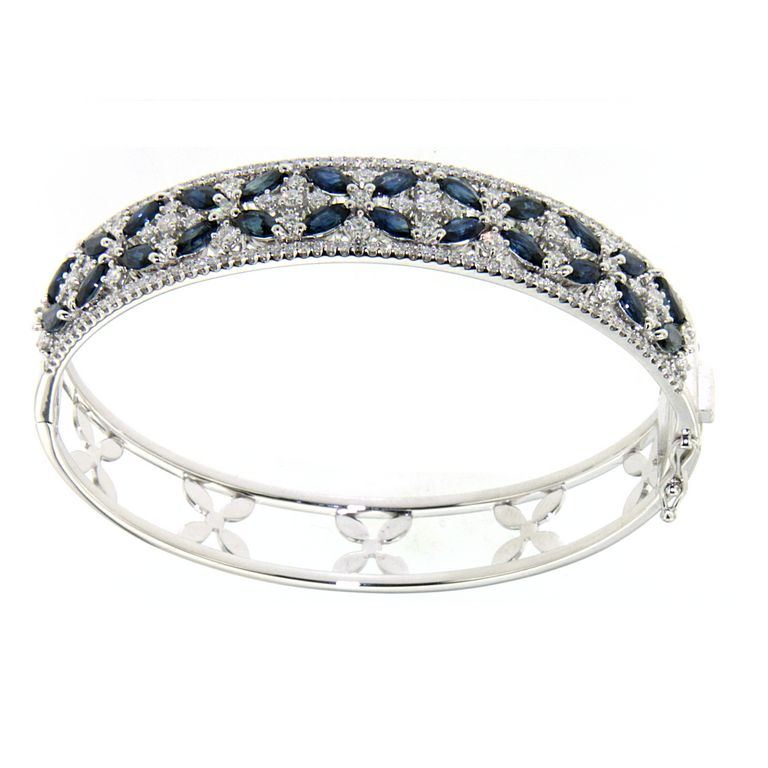 18K WHITE GOLD SAPPHIRE AND DIAMOND CUFF