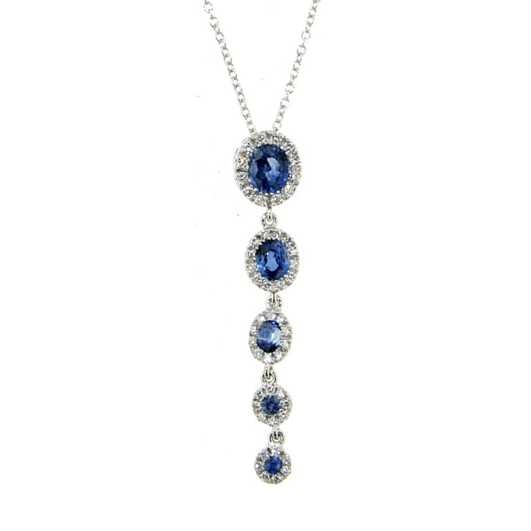 18K WHITE GOLD GRADUATED HALO SAPPHIRE AND DIAMOND NECKLACE