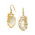 SYNA Mother of Pearl Vine Earrings With Champagne Diamonds