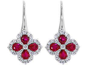 18kt. white gold Ruby and diamond drop earrings