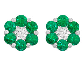 18kt. white gold Emerald and diamond earrings