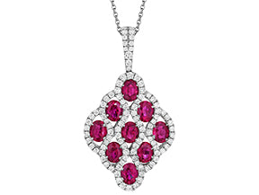 18kt. white gold Ruby and diamond pendant on a chain
