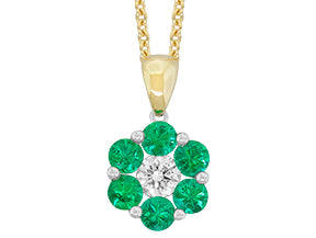 18kt white and yelllow gold Emerald and Diamond pendant on a chain