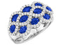 18kt. white gold three row ring set Sapphires and diamonds