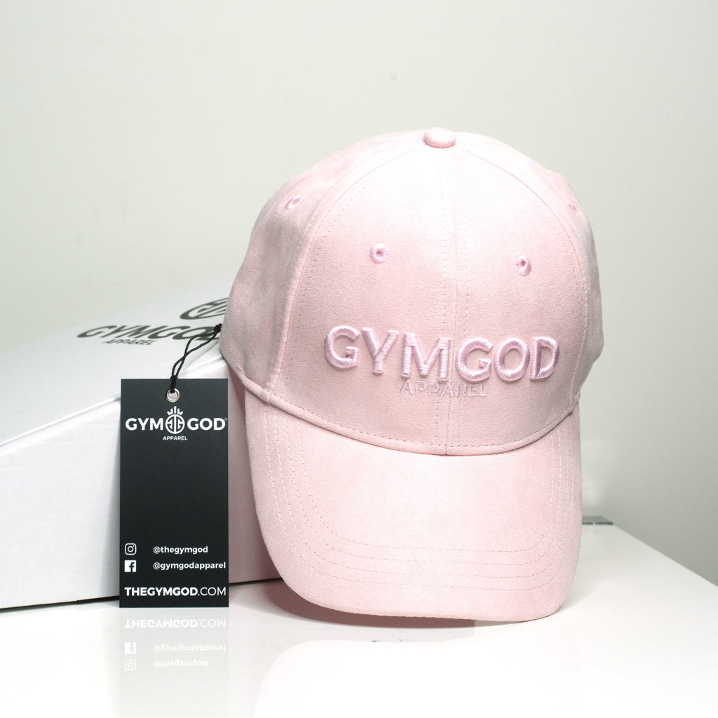 BABY PINK SUEDE BASEBALL CAP - GYMGOD