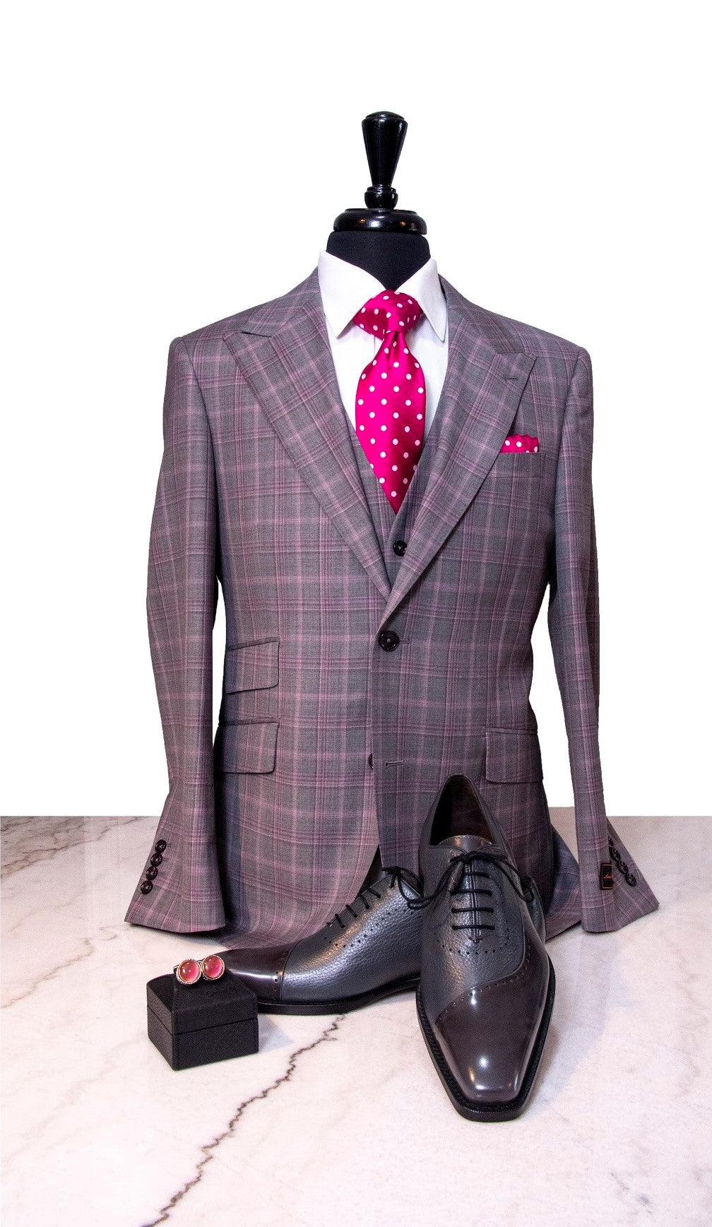 Gray 3-Piece with Pink/Mauve Check