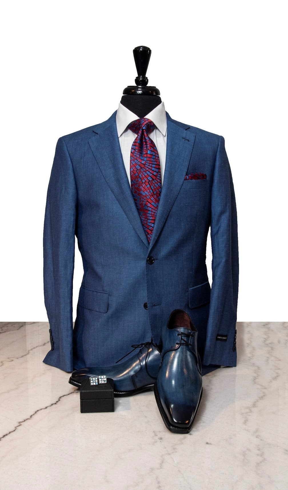 2-Button Ocean Blue Linen Suit