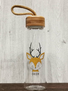 Animal Collection Bamboo Lid Glass Bottle