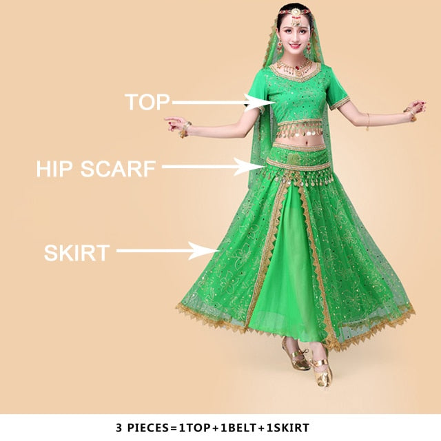 addfbfd9dc718 Sari Suit Belly Dance Costume Bollywood Indian Women - SevenTenShop