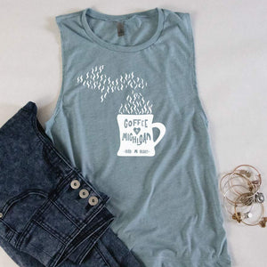 Cup of Michigan Muscle Tank - Michigan Vibes