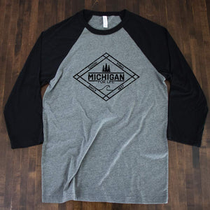 Michigan for Life 3/4 Baseball Tee - Michigan Vibes