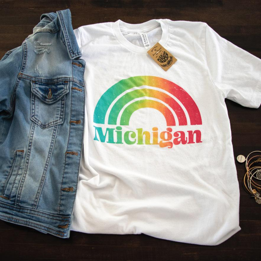 Rainbows over Michigan Tee - Michigan Vibes