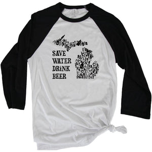 Save the Water 3/4 Baseball Tee - Michigan Vibes