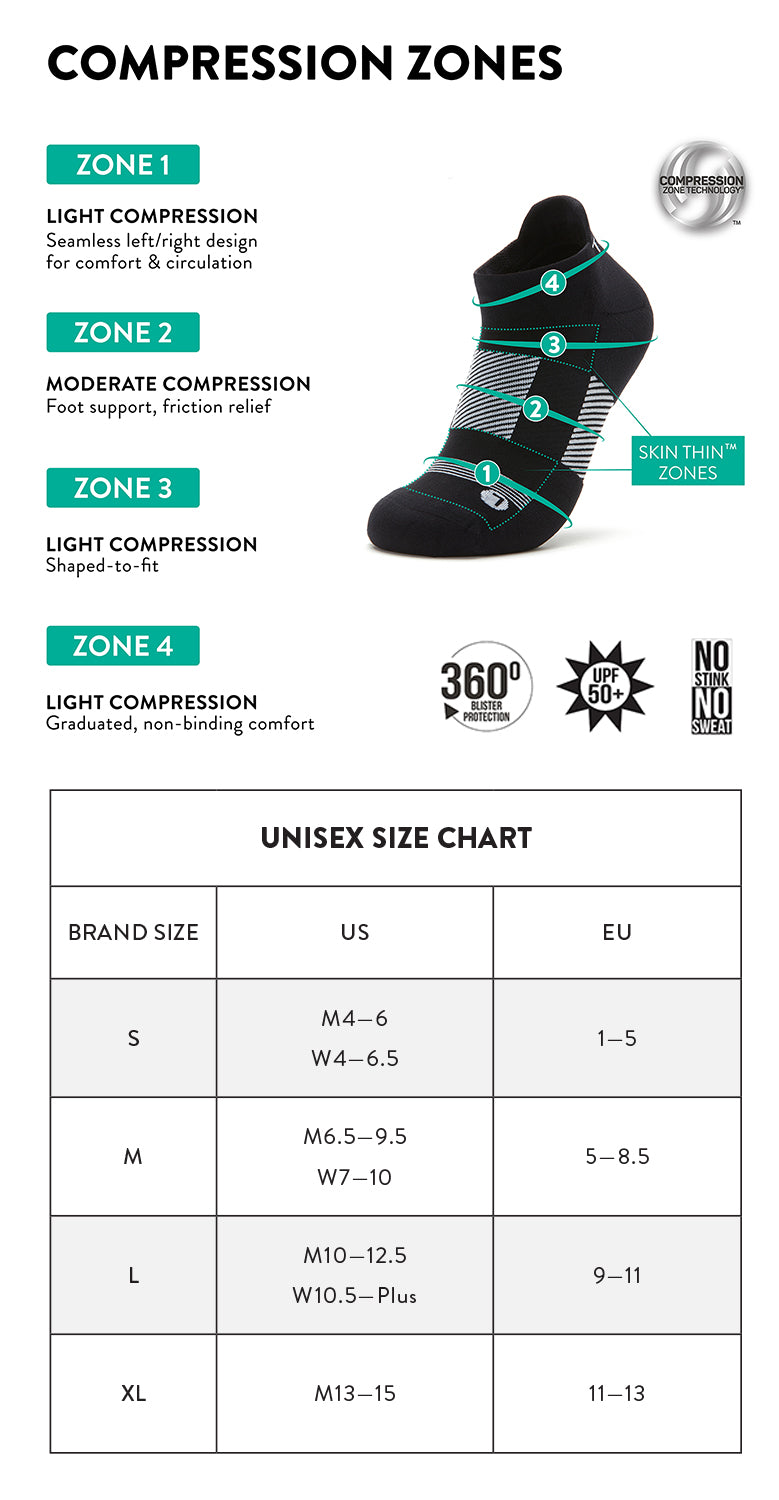 Traq by Alegria® compression socks size chart.  Q-Flow™ graduated compression zones offers optimal support and pressure relief for all-day comfort.
