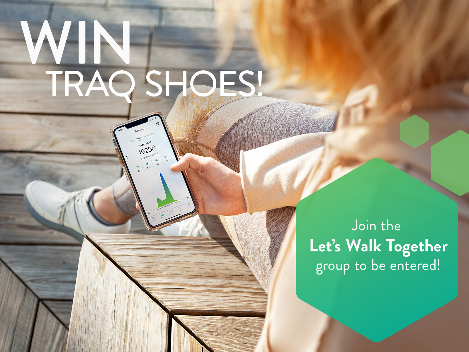 Win Traq Shoes - Join the Let's Walk Together group on the Traq App