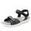 Qali Black three adjustable strap sandal with Q-chip™ technology. QAL-5006_S1