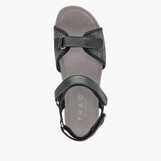 Qali Black three adjustable strap sandal with Q-chip™ technology. QAL-5006_S4