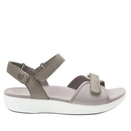 Qali Grey three adjustable strap sandal with Q-chip™ technology. QAL-5036_S2