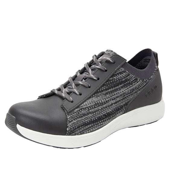 Qest Charcoal lace-up smart shoes with q-chip technology. QES-5018_S1