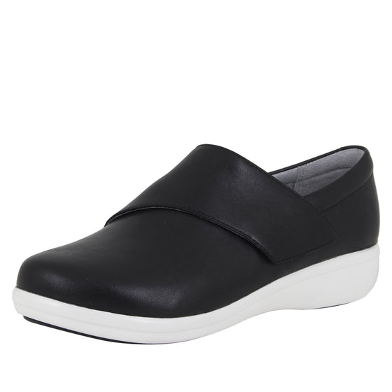Qin Black Nappa smart slip on shoes with Q-chip™ technology. QIN-601_S1