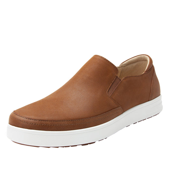 Quentin Cognac Mens smart slip-on leather shoe with Q-chip™ technology- QUE-M7202_S1