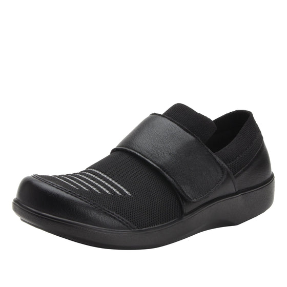 Qwik Peeps Black slip on smart shoes with Q-chip™ technology. QWI-5005_S1