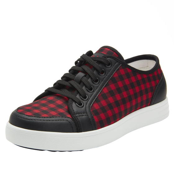 Sneaq Check Yeah Red sneaker style smart shoes with Q-chip™ technology. SNE-5601_S1