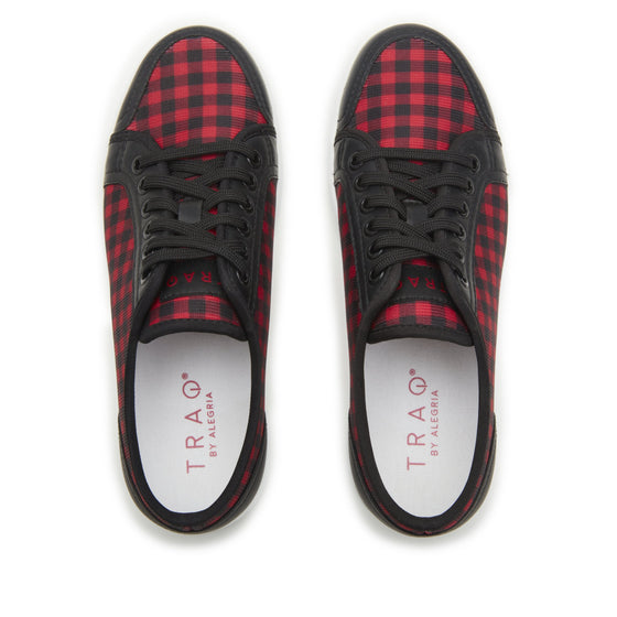 Sneaq Check Yeah Red sneaker style smart shoes with Q-chip™ technology. SNE-5601_S5