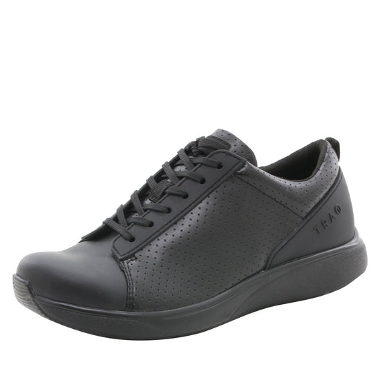 Qest Perf Black lace up smart shoes with q-chip technology. QES-5019_S1