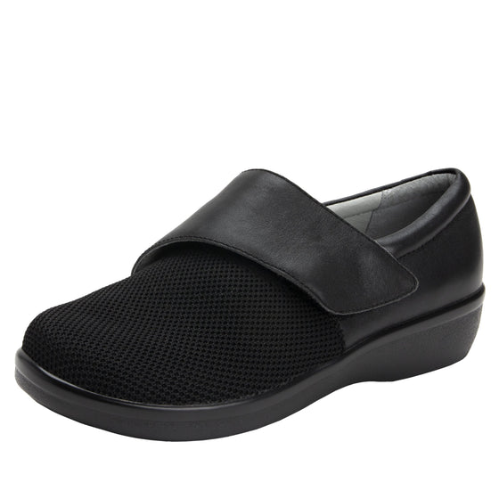 Qin Black Stretch smart slip on shoes with Q-Chip technology. QIN-5008_S1