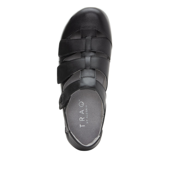 Treq Black three adjustable strap shoes with Q-chip™ technology. TRE-5003_S4