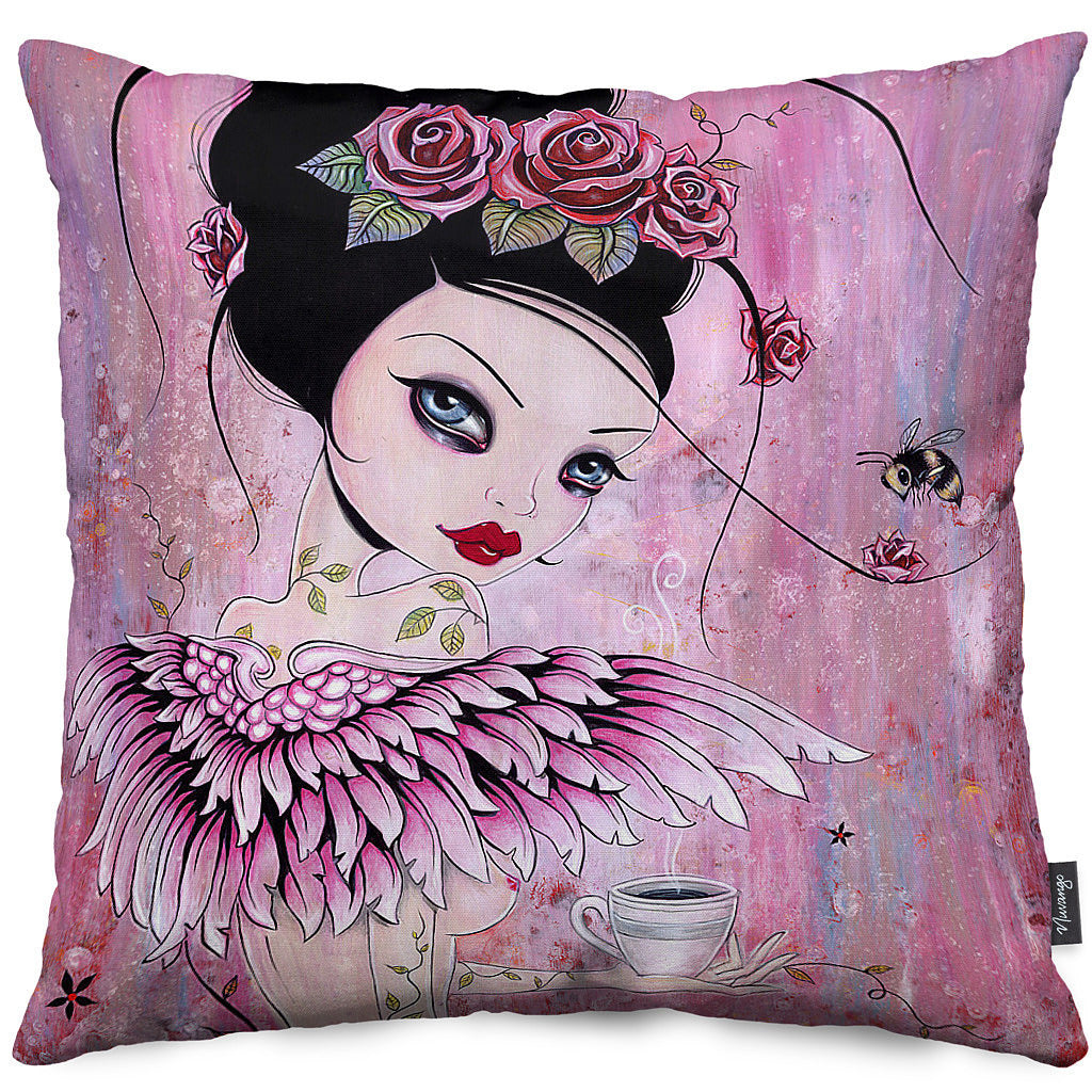Coffee Angel Throw Pillow