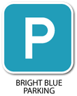 Bright Blue Parking Signs