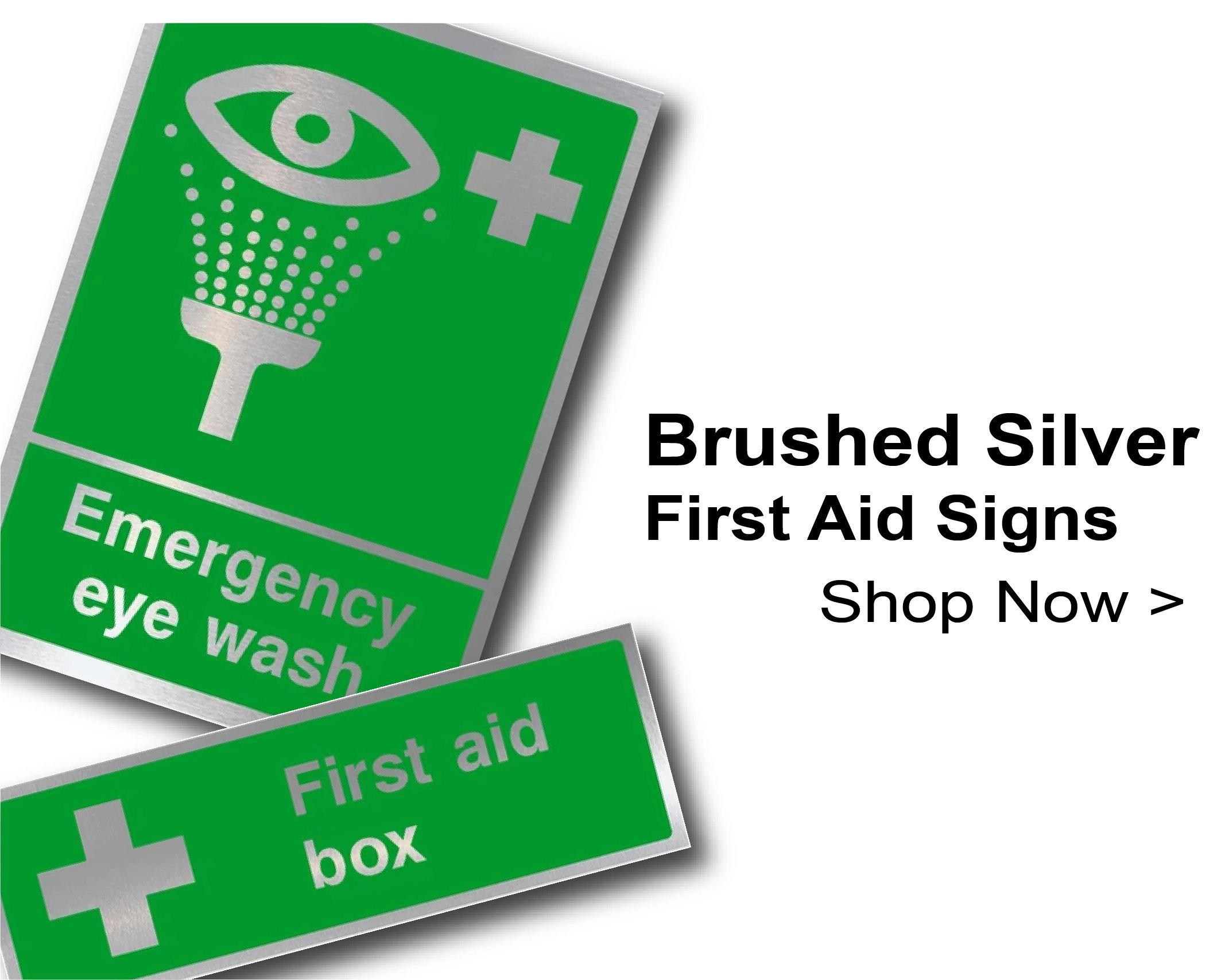 Brushed Silver First Aid Signs