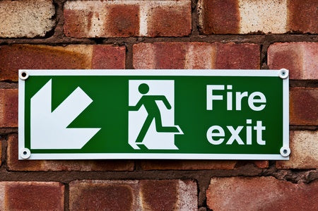 fire exit down left arrow sign | shop now at The Sign Shed