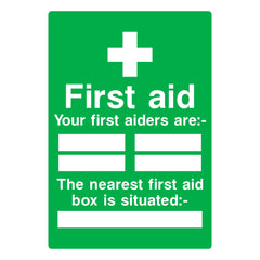 Download this free First Aid First Aiders Sign here