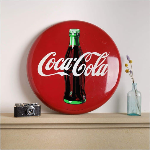 1990 Coca Cola Coke Metal Button Sign-Home & Garden > Decor > Novelty Signs-The Sign Shed-The Sign Shed