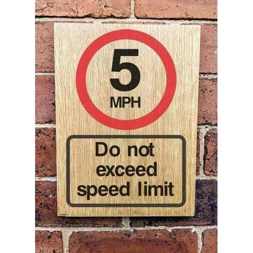 5 MPH Speed Limit Sign | Natural Oak Wood Sign | The Sign Shed-Parking Signs & Permits-The Sign Shed-220x300mm-Portrait-Pre-drilled holes in 4 corners-The Sign Shed