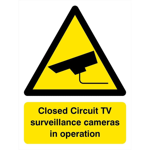 Closed Circuit TV Surveillance Cameras In Operation Sign-Safety & Warning Signs-The Sign Shed-150 x 200 mm-Self adhesive vinyl sticker-No fixings-The Sign Shed