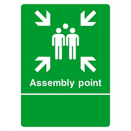 Custom Assembly Point Sign portrait-Emergency & Exit Signs-The Sign Shed-300 x 400 mm-3mm Recycled Plastic-No artwork needed-The Sign Shed