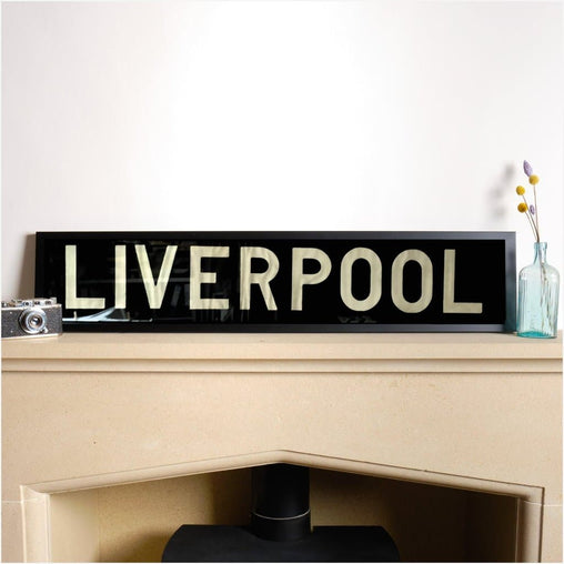 Original Framed Bus Destination Blind - LIVERPOOL-Home & Garden > Decor > Novelty Signs-The Sign Shed-The Sign Shed