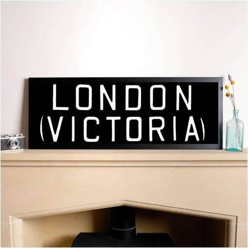 Original Framed Bus Destination Blind - London Victoria-Home & Garden > Decor > Novelty Signs-The Sign Shed-The Sign Shed