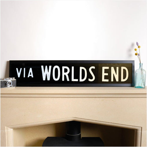 Original Framed Bus Destination Blind - World's End-Home & Garden > Decor > Novelty Signs-The Sign Shed-The Sign Shed