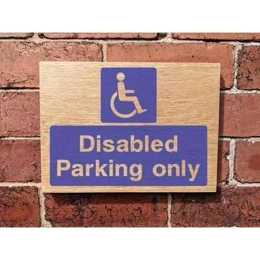 Wooden Disabled Parking Only Sign | Natural Oak-Parking Signs & Permits-The Sign Shed-220x300mm-Landscape-No drill-holes required-The Sign Shed