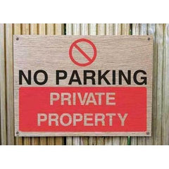 Wooden No Parking Private Property Sign | Natural Oak-Parking Signs & Permits-The Sign Shed-220x300mm-Landscape-Pre-drilled holes in 4 corners-The Sign Shed