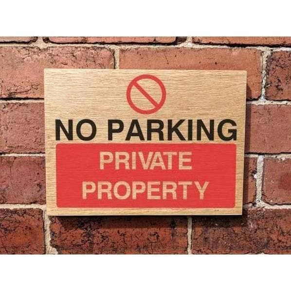 Wooden No Parking Private Property Sign | Natural Oak-Parking Signs & Permits-The Sign Shed-220x300mm-Landscape-No drill-holes required-The Sign Shed