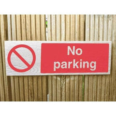 Wooden No Parking Sign | Natural Oak-Parking Signs & Permits-The Sign Shed-400 x 130 mm-Landscape-Pre-drilled holes in 4 corners-The Sign Shed