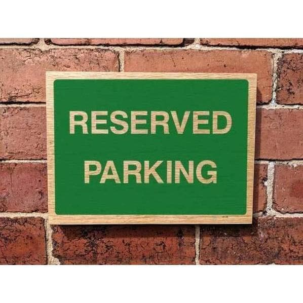 Wooden Reserved Parking Sign | Natural Oak Wood Sign-Parking Signs & Permits-The Sign Shed-220x300mm-Landscape-No drill-holes required-The Sign Shed