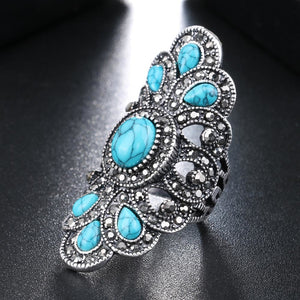 Luxury Bohemian Style Blue Resin Ring