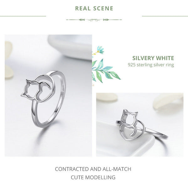Genuine S925 Sterling Silver Cat & Heart Shape Ring